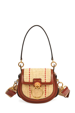 Chloe Tess Small Raffia Crossbody Bag