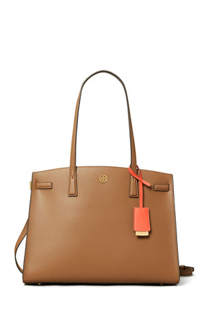 Tory Burch Robinson Pebbled Triple-Compartment Satchel Bag