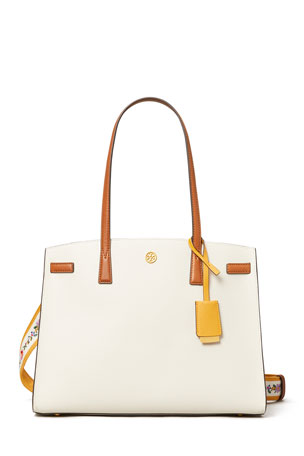 Tory Burch Robinson Colorblock Pebbled Triple-Compartment Satchel Bag