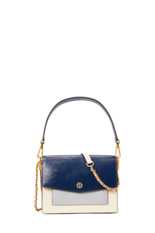 Tory Burch Robinson Colorblock Mixed Leather Shoulder Bag