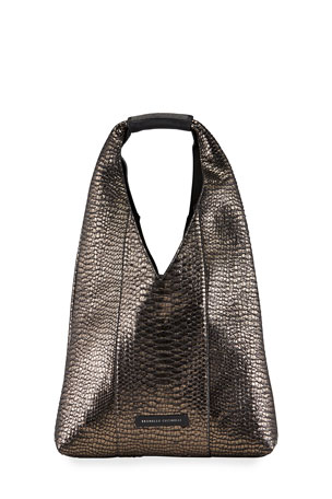 Brunello Cucinelli Python Hobo Bag with Monili Detail