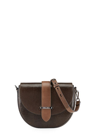 Brunello Cucinelli Laminated Leather Half-Moon Crossbody Bag