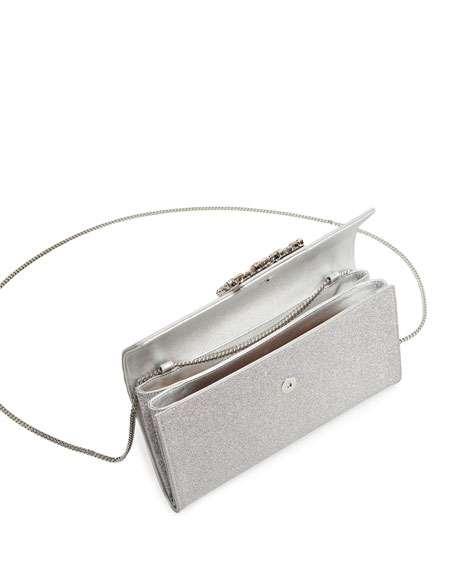 Image 2 of 3: Roger Vivier RV Broche Glitter Envelope Flap Clutch Bag