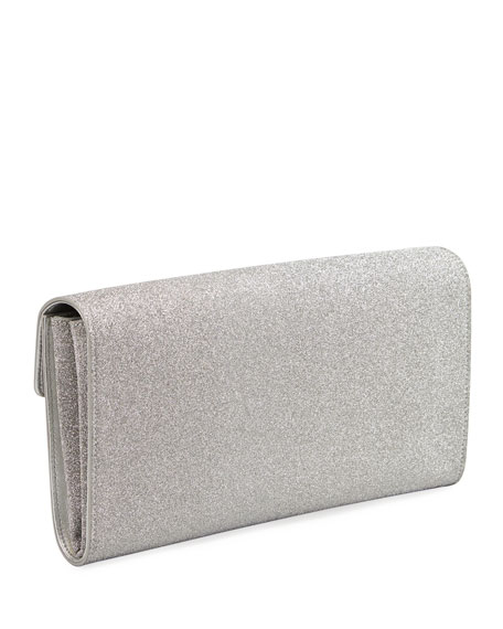 Image 3 of 3: Roger Vivier RV Broche Glitter Envelope Flap Clutch Bag