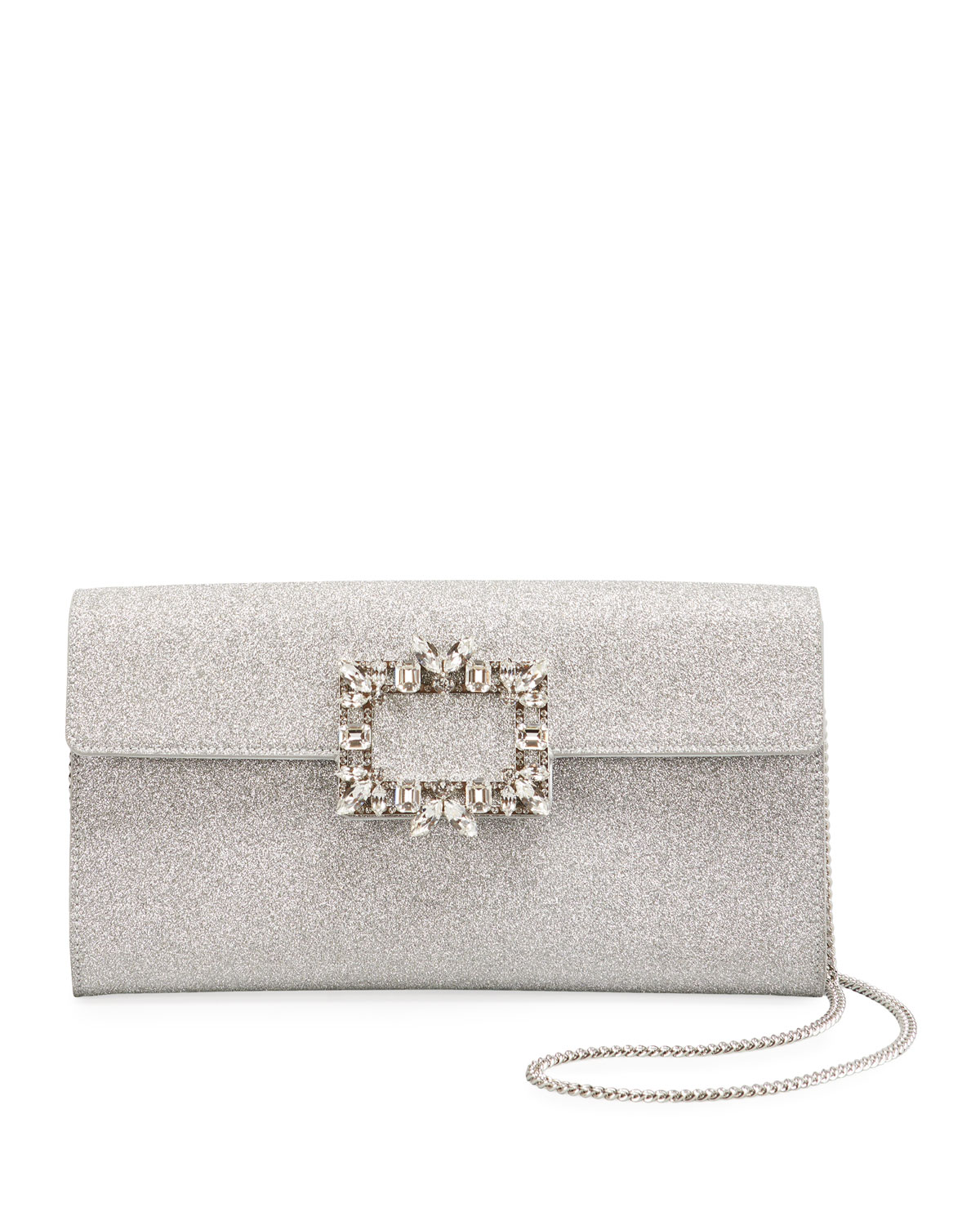 Roger Vivier RV Broche Glitter Envelope Flap Clutch Bag