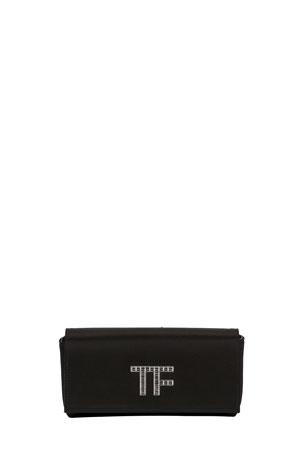 TOM FORD Satin Crystal TF Logo Clutch Bag