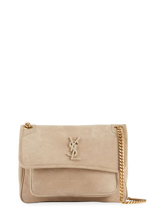 Saint Laurent Niki Medium YSL Monogram Quilted Suede Flap Shoulder Bag