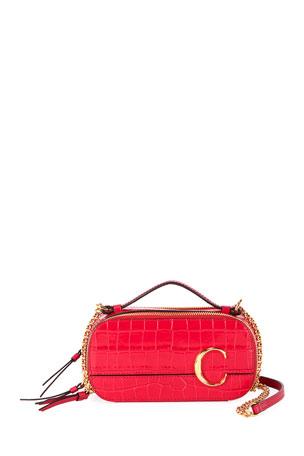 Chloe C Multi Crocodile-Embossed Crossbody Bag