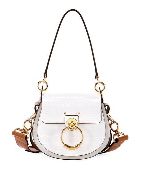 Image 1 of 3: Tess Small Embossed Leather Shoulder Bag