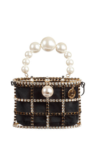 Rosantica Holli Pearly-Handle Cage Minaudiere Bag