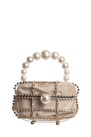 Rosantica Ducas Pearl & Crystal Top-Handle Bag