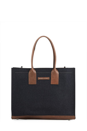 Brunello Cucinelli Structured Wool Flannel Tote Bag with Monili