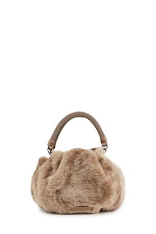 Brunello Cucinelli Small Shearling Fur Pochette Bag with Monili Handles