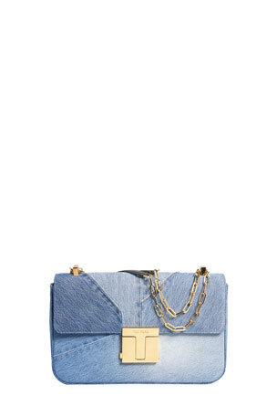TOM FORD Denim T-Clasp Shoulder Bag