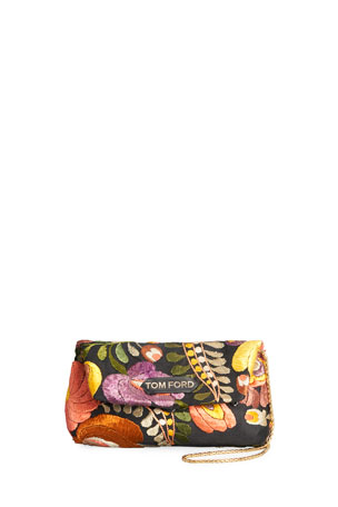 TOM FORD Small Label Floral Embroidered Shoulder Clutch Bag