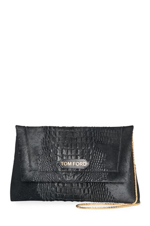 TOM FORD Label Medium 3D Calf Hair Shoulder Bag