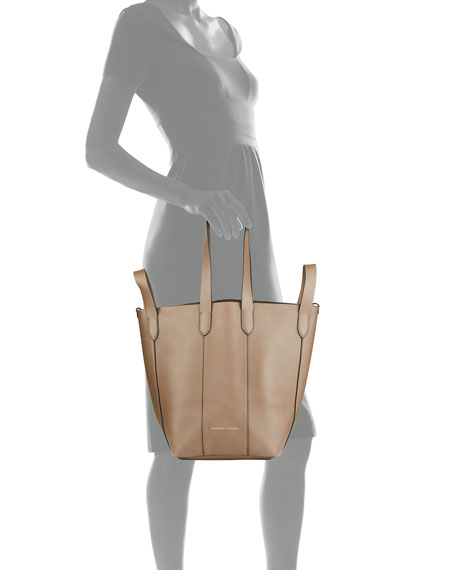Image 4 of 5: Brunello Cucinelli Small Mixed Leather Multi Strap Convertible Tote Bag