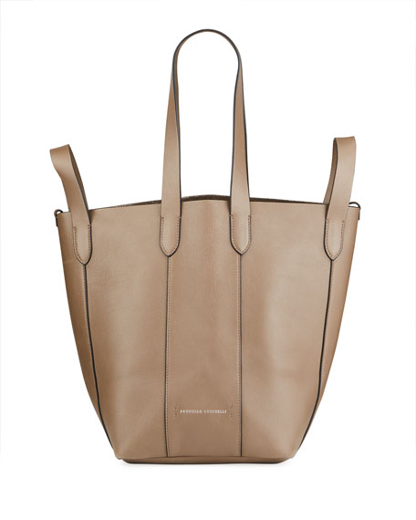 Image 1 of 5: Brunello Cucinelli Small Mixed Leather Multi Strap Convertible Tote Bag