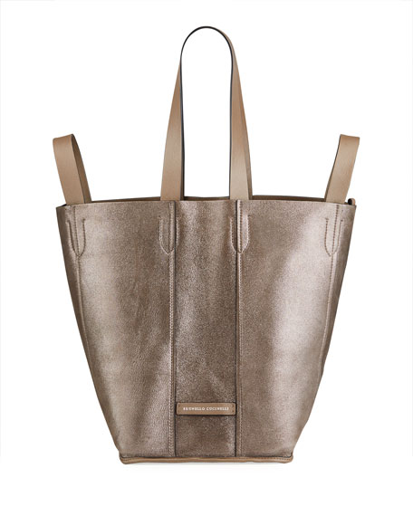 Image 5 of 5: Brunello Cucinelli Small Mixed Leather Multi Strap Convertible Tote Bag