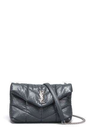Saint Laurent LouLou Toy YSL Puffer Quilted Matte Leather Crossbody Bag