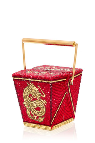 Judith Leiber Couture Take Out Food Golden Dragon Crystal Clutch Minaudiere, Red