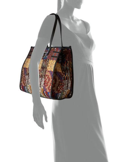Image 4 of 4: Etro XL Patchwork-Print Shopper Tote Bag
