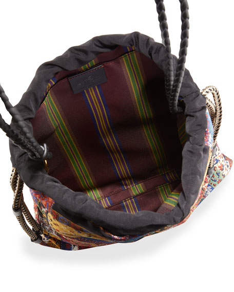 Image 2 of 4: Etro Small Patchwork-Print Drawstring Bucket Bag