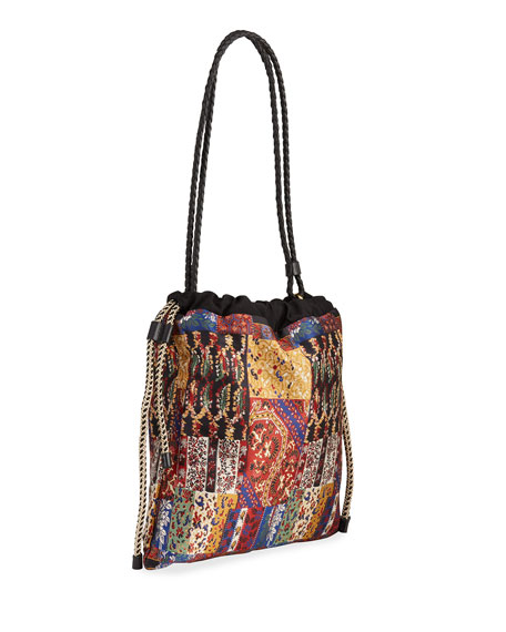 Image 3 of 4: Etro Small Patchwork-Print Drawstring Bucket Bag
