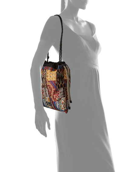 Image 4 of 4: Etro Small Patchwork-Print Drawstring Bucket Bag