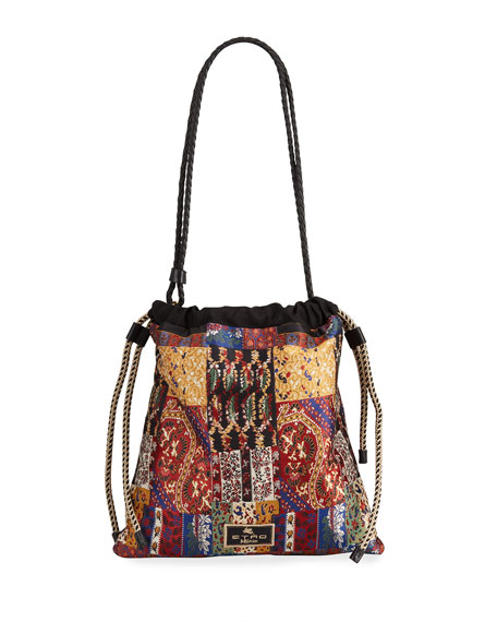 Image 1 of 4: Etro Small Patchwork-Print Drawstring Bucket Bag