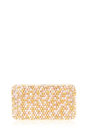 Judith Leiber Couture Smooth Rectangle Bling Mix Full-Bead Clutch Bag