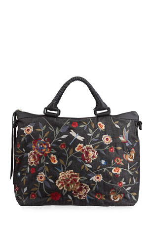 Johnny Was Krysha Embroidered Overnight Tote Bag