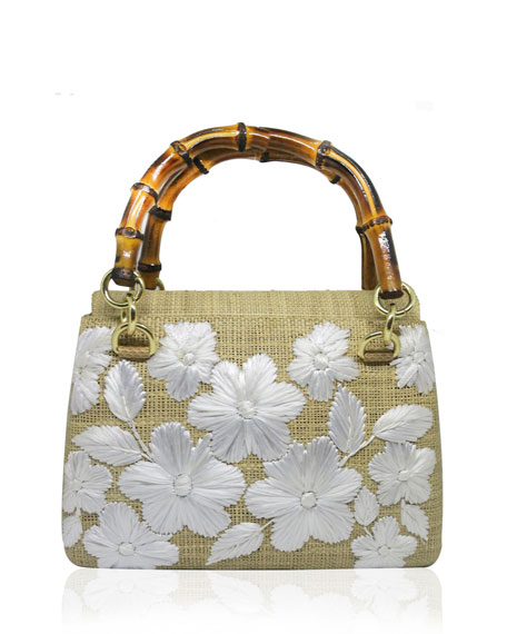 Petite straw handbag with wooden top handle
