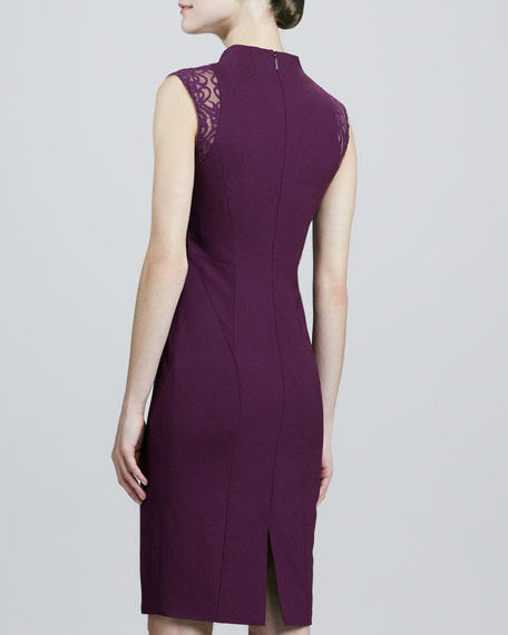 Crepe Dress with Lace Cap Sleeves
