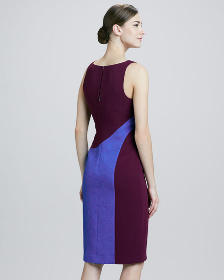 Sleeveless Colorblock Dress, Plum/Cobalt