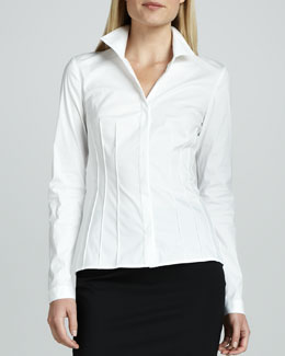 Lafayette 148 New York Cybil Italian Stretch Blouse
