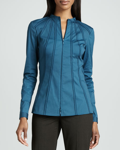 Stretch Zip-Front Blouse