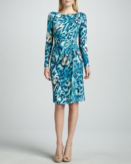 Lafayette 148 New York Mallard Tiger-Print Jersey Dress