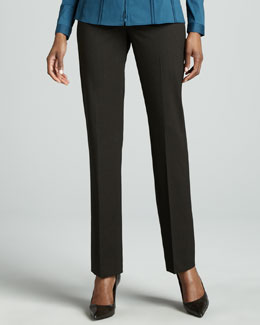 Lafayette 148 New York Barrow Straight-Leg Pants, Coffee