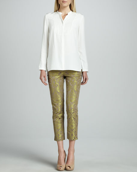 Cropped Pants with Metallic Highlights