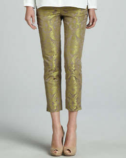 Lafayette 148 New York Cropped Pants with Metallic Highlights