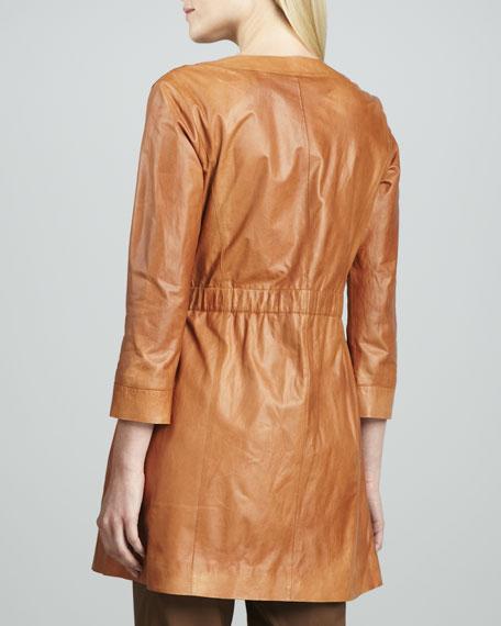 Drawstring-Waist Leather Jacket