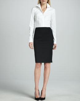 Lafayette 148 New York Italian Stretch Wool Skirt