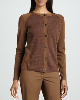 Lafayette 148 New York Textured-Panel Cardigan