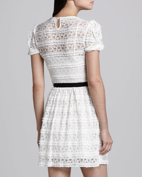 Short-Sleeve Stitched Lace Dress, White
