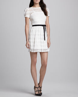 RED Valentino Short-Sleeve Stitched Lace Dress, White