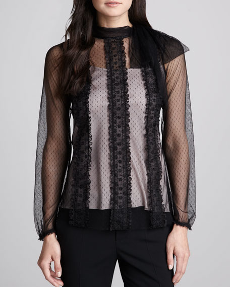 Floral-Embroidered Point d'Esprit Blouse