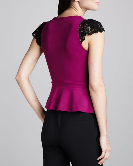 Lace-Yoke Jersey Top, Raspberry
