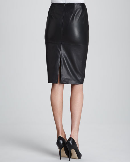 Slim Lamb Leather Pencil Skirt