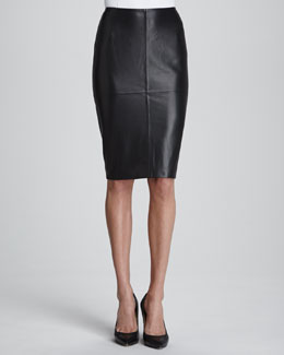 Lafayette 148 New York Slim Lamb Leather Pencil Skirt
